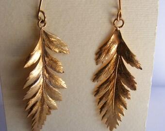 Rose gold plated Sterling Fern earrings