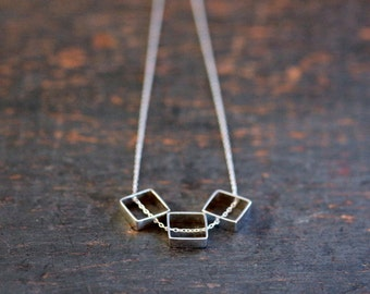 Silver Squares Necklace, Geometric Trio Necklace, Sterling Silver, Everyday Necklace, Sliding Pendants, Modern Style Layering Jewerly
