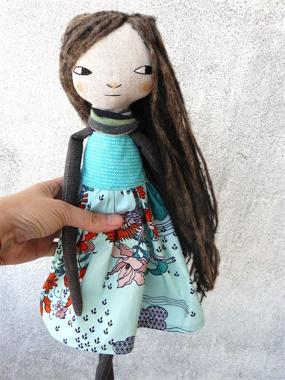 New more stylized model. Art doll in cotton. Mohair-silk and alpaca wool hair. 16 inches.