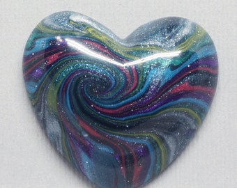 Pink, Blue, Green and Purple Polymer Clay Heart Shaped Cabochon