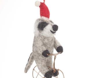 Raccoon on Bike - Felt animals - Needle felted Animal - Christmas - Wool felt - Woodland decorations - Merino wool - Ethical -Handmade