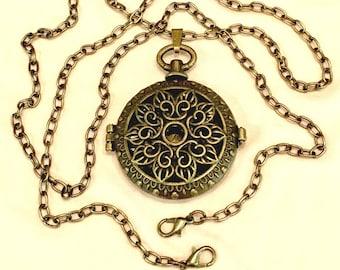 Locket Necklace,  Locket Pendant, Bronze Pendant Necklace, Antique Locket Necklace, Extra Long Pendant Necklace, Adjustable Necklace