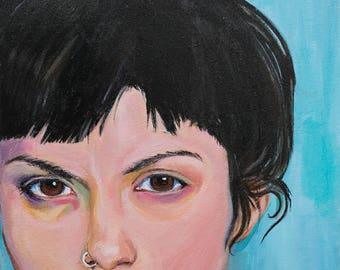 """Art Print, """"Snarling on Blue"""", Wall Art, Original Art, Original Painting, Portrait Painting, Prints, Figurative Art, Blue, 11x14"""