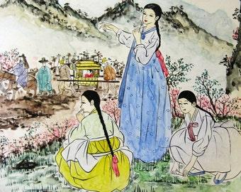 Korean Women in Hanbok Costume - Vintage Landscape Painting on Large Round Plate - Korean Folk Art - Round Landscape Art - Asian Home Decor