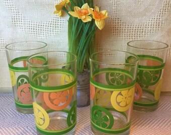 Mid Century Citrus Glassware, Set/4 Juice Glasses