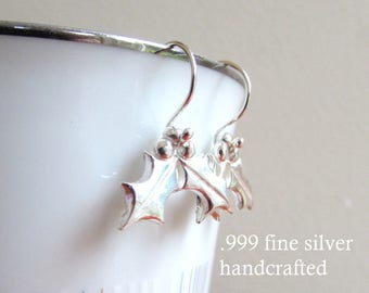 Christmas Earrings - Fine Silver - Holly Earrings - Holly Berries - 999 silver - Handmade in Melbourne - Australian made jewellery - Berry