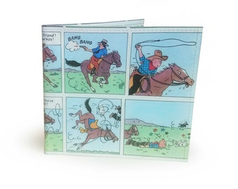 TinTin Wallet - Upcycled 1970's comic page in PVC - TinTin in America - Mens Wallet, Comic Wallet, Boys Wallet, Slim Wallet