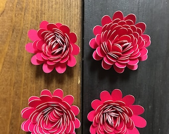 Paper flower magnets set of 4