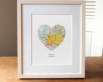 Memphis City Heart Print, Tennessee Art Print, Memphis City Art, Custom City Print