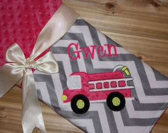 Fire Truck - Personalized Minky Baby Blanket - Grey Chevron / Pink Minky - Embroidered Fire Truck