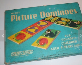 Vintage Game Pieces Picture Tiles Repurpose Game Matching Game Paper Dominios