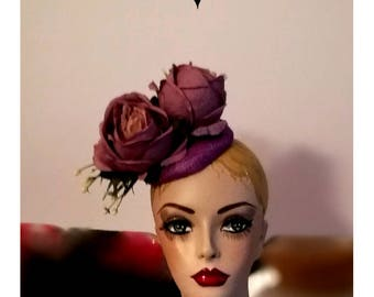 Lilac Hat Purple Fascinator Vintage Style Pill Box Hat Retro Repro Character Hats Bespoke Purple Silk Flowers Bespoke Vandalised with Love U