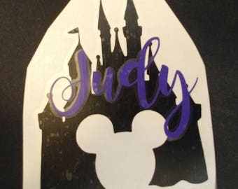 Disney Castle with Mickey Mouse Head Vinyl Decal | Cinderella's Castle | Princess Castle |  Personalized with Name or Monogram!