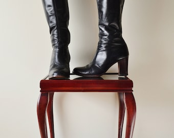 70's black leather knee high boots Gogo boots 7