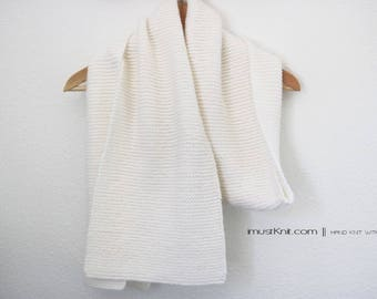 super soft hand knit scarf | knit garter scarf | knit white scarf || hand knit shawl | knit wrap -nature white 9.5 x 73.5''