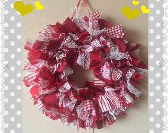 """Absolute Gorgeous Red Mix Handmade """"raggy"""" Wreath"""
