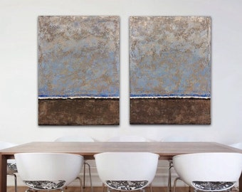Large Abstract Painting on Canvas Original Wall Art Diptych Painting brown blue Abstract Landscape Texture