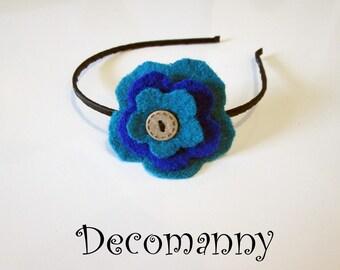 Serre-tête fleur en laines feutrées bleu turquoise et bleu électrique