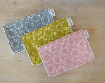 Organic Burp Cloths Set of 3 in Circles -  Newborn Gift, Baby Girl Shower, Burp Set in Gray, Pink, Mustard
