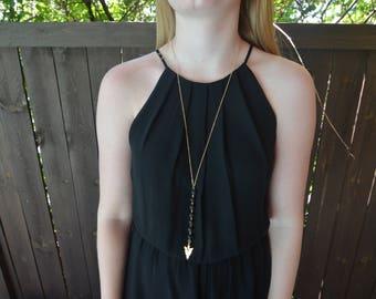 Arrowhead & Lava Diffuser Necklace