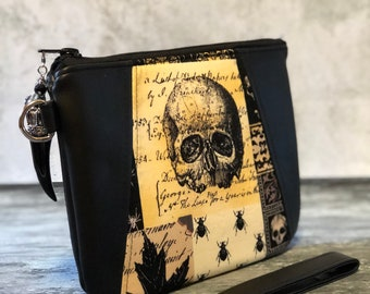 Bewitched Wristlet; Gothic wristlet ,Wiccan purse, witch wristlet ,goth purse, gothic handbag, skull purse, evening bag, alchemy,vegan