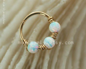 Cartilage hoop -White opal nose hoop, helix hoop- gold filled nose Ring - silver opal hoop- helix earring - hex Hoop, opal jewelry piercing