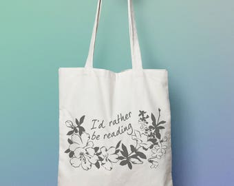 Book Lover Gift: I'd Rather Be Reading Tote Bag, book lover, read more books, bibliophile