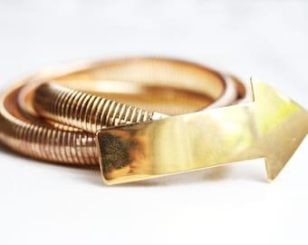 Belt Arrow, Gold Belt, Snake Belt, Arrow, Coil Belt, Stretch Belt, Waist Belt, Size Small