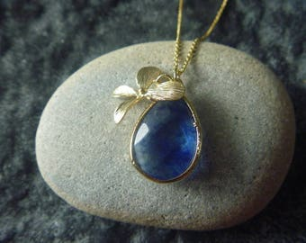 Gold Plated Pacific blue Orchid necklace