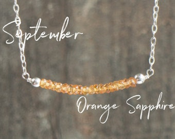 Orange Sapphire Necklace, Delicate Bar Necklace, Girlfriend Gift for Her, Gemstone Necklace, September Birthstone Necklace, Sapphire Jewelry