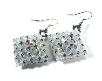 Crystal Netted Earrings, Handmade Bead Jewellery, Bridesmaid Gift, Hand Made Crystal Jewelry