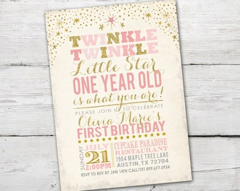 Twinkle Twinkle Little Star First Birthday, Twinkle Twinkle Little Star First Birthday Invitation, Twinkle Twinkle Little Star Invitation
