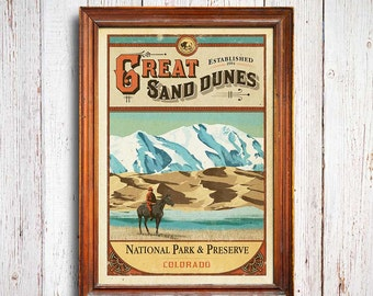Great Sand Dunes Poster, Great Sand Dunes National Park print, Colorado Poster, Mountains Poster, national park quest poster