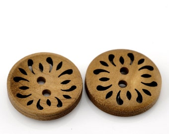 10 LIght Brown Coffee Carved Wooden Buttons - 25mm (1 inch) - 2 Hole - Brown Wood Button (B21510)