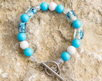 Summer Sky Glass Bead Bracelet 7""