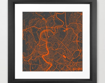 ROME Map, Italy, Giclee Fine Art, Modern Abstract, Poster Print, Wall Art, Home Decor, Decoration