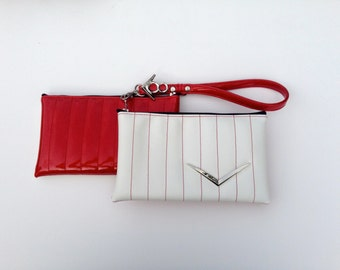 V8 Hot Rod Wristlet- Red & Sparkle White with Chevron