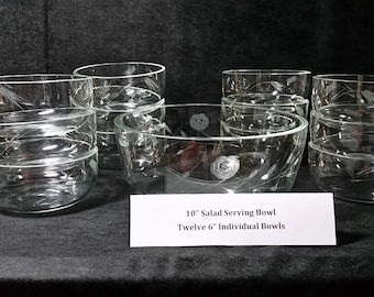 Salad Serving Bowl with 12 individual bowls, etched glass