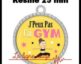 Round Cabochon pendant 25 mm epoxy resin - I can not I have Gym! (2089) - text, fun, sorry, humor