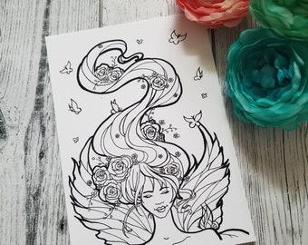 Faerie Postcard Coloring Page