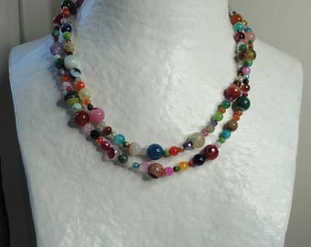 Long multicolor agate necklace