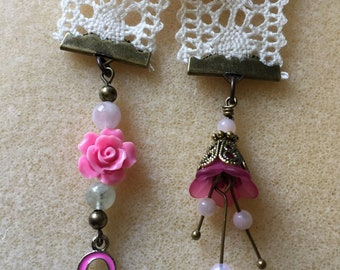 Breast Cancer bookmark with pink flowers