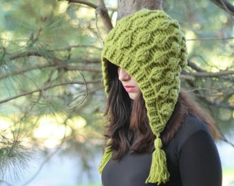 NEW CROCHET PATTERN - Embossed Leaves Hooded Hat, hood, had (adult sizes) 3D leaves, embossed leaves