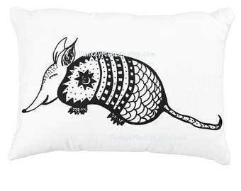 Happy Armadillo toss pillow rustic home decor 16x12 toss pillow black and white personalize or not made to order desert animal kawaii cute