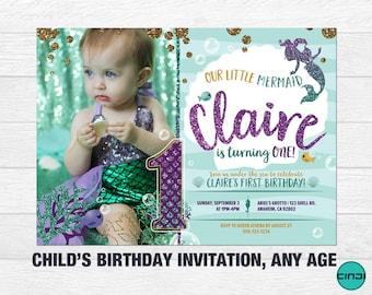 Mermaid First Birthday Invitation, Mermaid 1st birthday Invitation, Under The Sea, 1ST BIRTHDAY Invite, Girl First Birthday Invitation