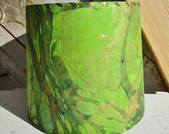 Green Marbled Drum Lamp Shade, Green Momi Thai Marbled Paper, Kozo Paper Shade, Washer Top Shade, Tie Dyed Lampshade, Botanical Lampshade