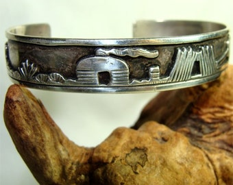 STERLING Silver NAVAJO Bracelet with Silver Mine Scene