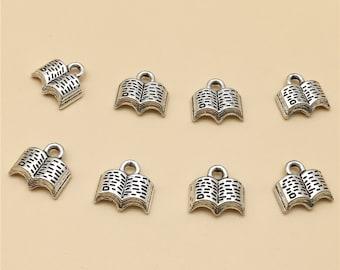 100pcs Antique Silver Book Charms , Book Pendant , Book Necklace, Bulk  Charms , Wholesale Charms