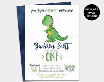 JUNE SALE Dinosaur Birthday Invitation - Trex Watercolor Boy Birthday Invite - Modern Dino First Birthday Invite - Boy Blue Green Baby Showe