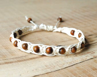 Wood Hemp Bracelet, hemp jewelry, yoga, wood bead, mens gift, adjustable macrame bracelet, boho, hippie, beach, surf, eco friendly gifts